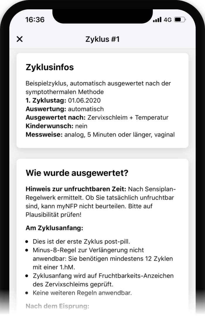 Screenshot myNFP Auswertung